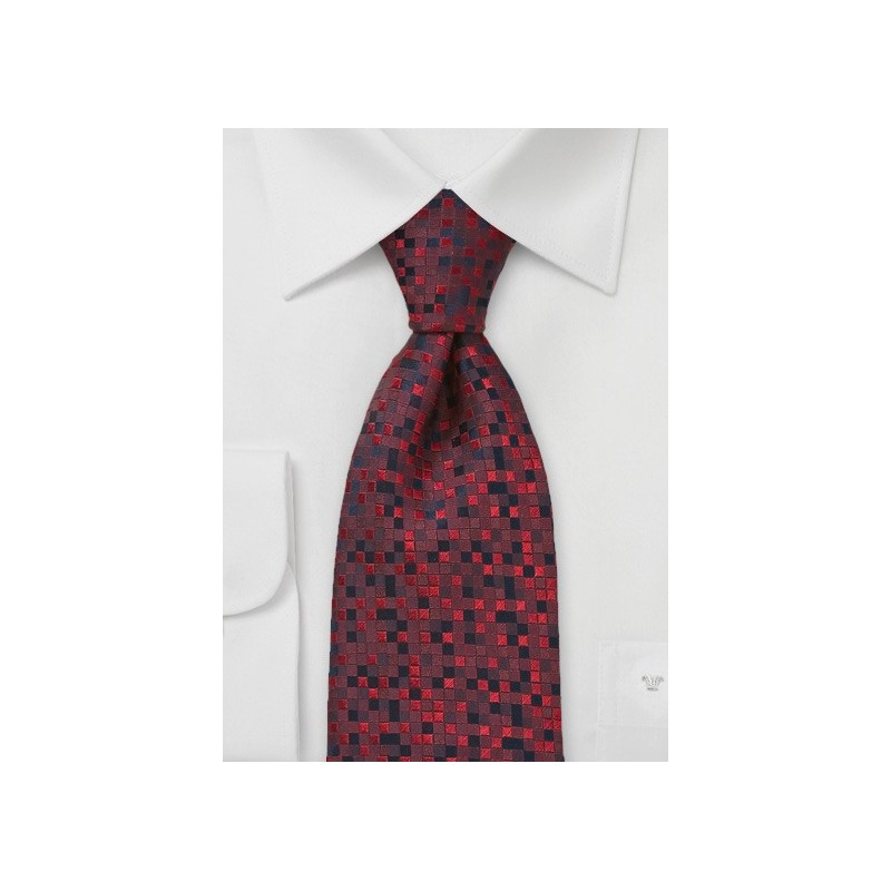 Patchwork Tie in Red and Black