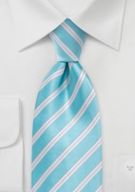 Soft Aqua Striped Tie