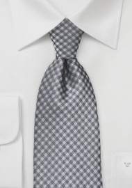 Heather Grey Gingham Tie