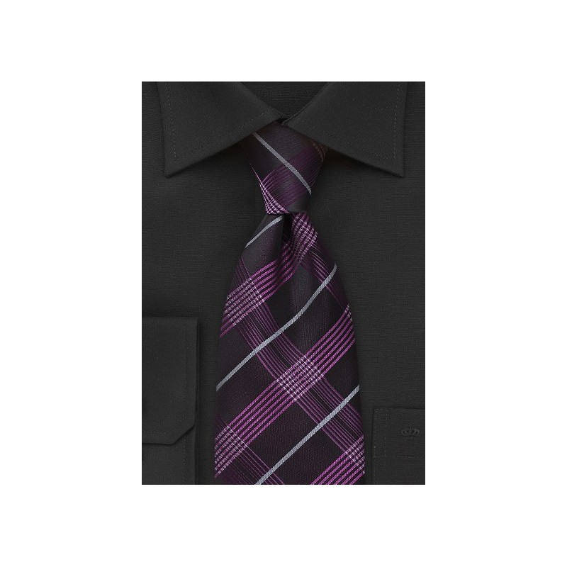 Plaid Tie in Black and Hot Pink