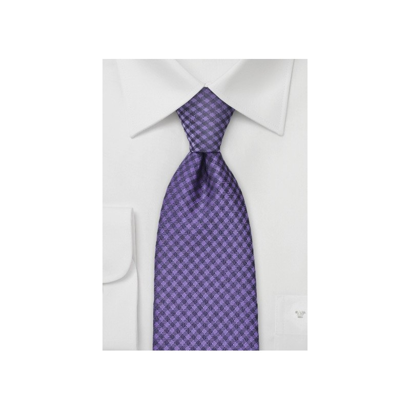 Electric Violet Gingham Tie