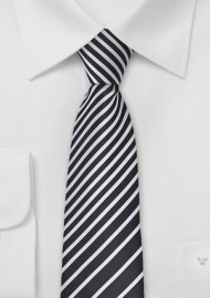 Striped Skinny Tie in Black and White