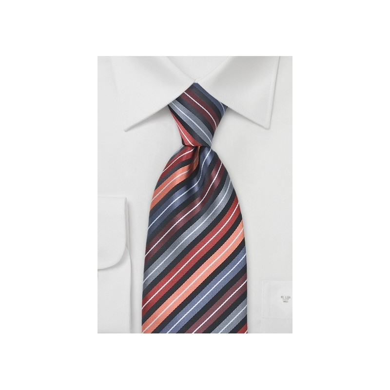 Striped Tie in Apricots, Blacks and Greys