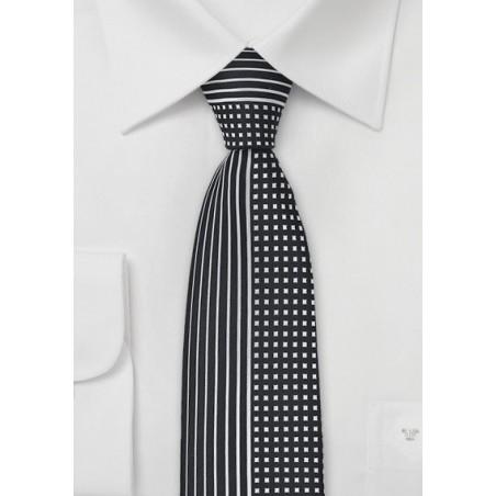 Modern Skinny Tie in Black and Silver