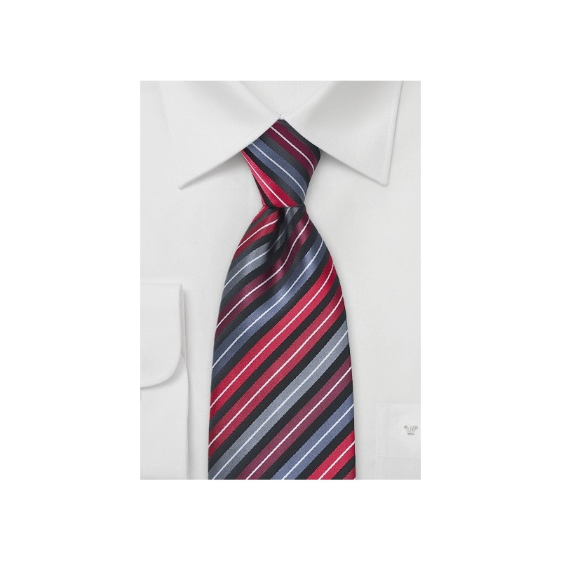 Striped Tie in Reds, Greys and Blacks