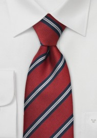 XL Regimental Striped Tie in Crimson