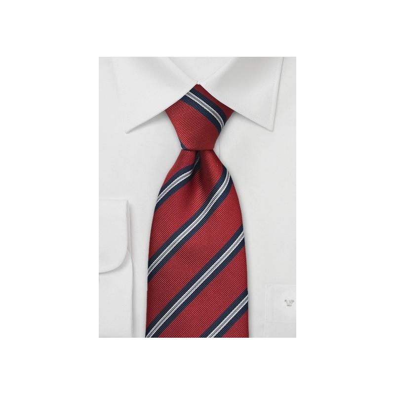 XL Regimental Striped Tie in Crimson