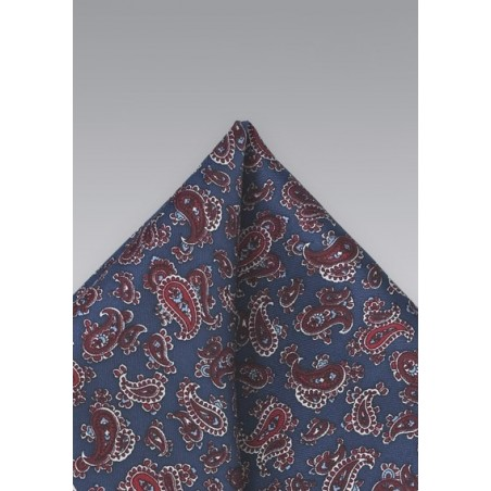 Red and Blue Paisley Pocket Square