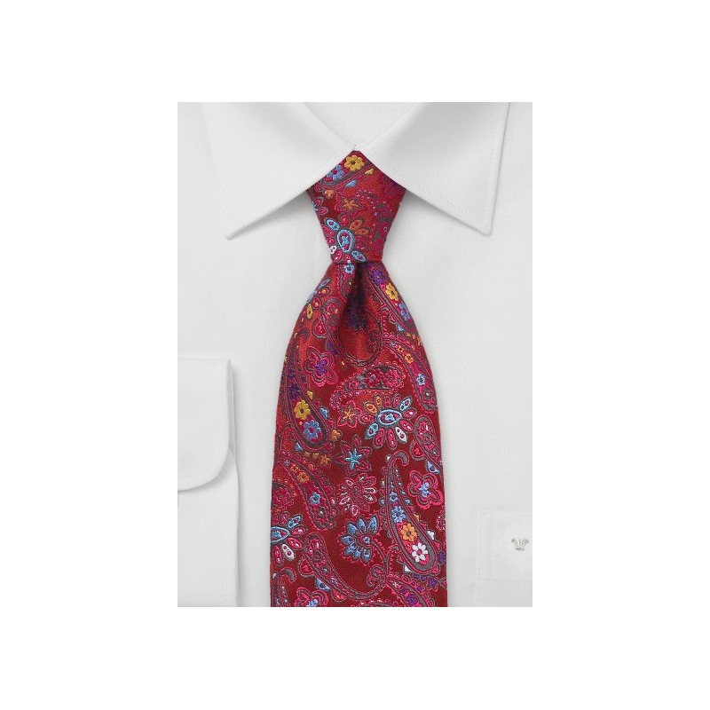 Colorful Modern Red Paisley Tie