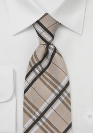 Modern Plaid Tie in Tan