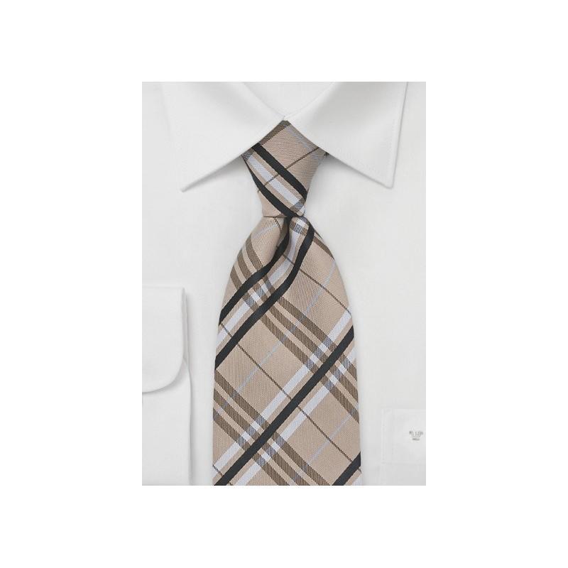 Modern Plaid Tie in Tan