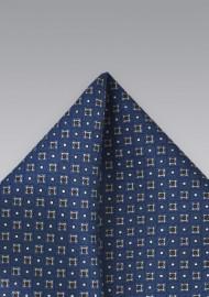 Star Patterned Pocket Square in Dark Blue