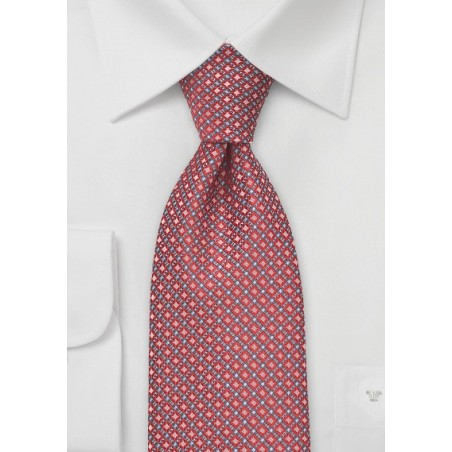 Red and Silver Diamond Patterned Tie