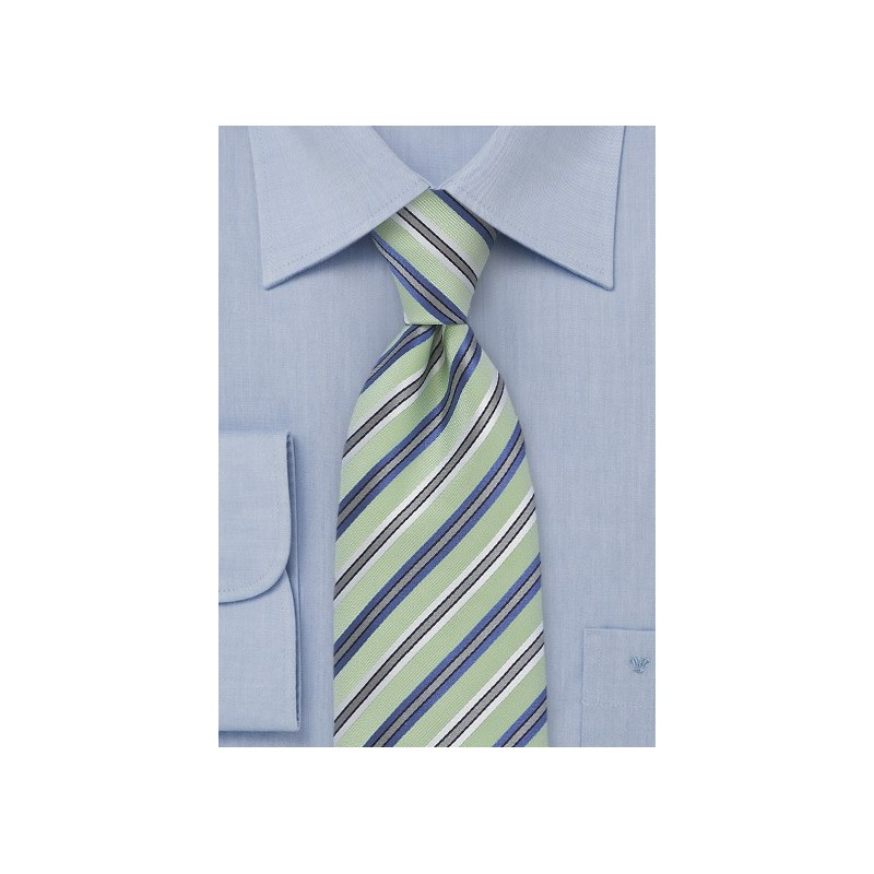 Striped Tie In Light Green And Purple