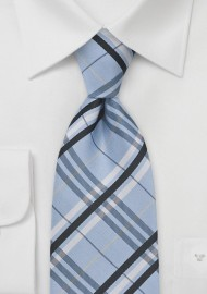 Plaid Tie in Pool Blue