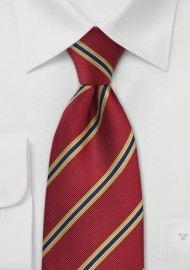 XL British Tie in Crimson-Red and Yellow