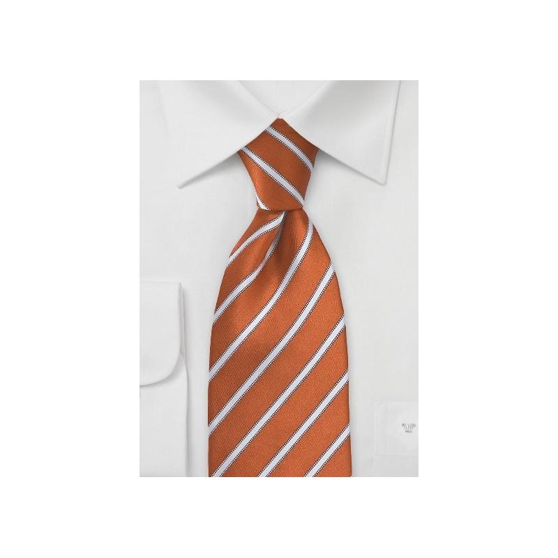Burnt Orange and White Striped Tie