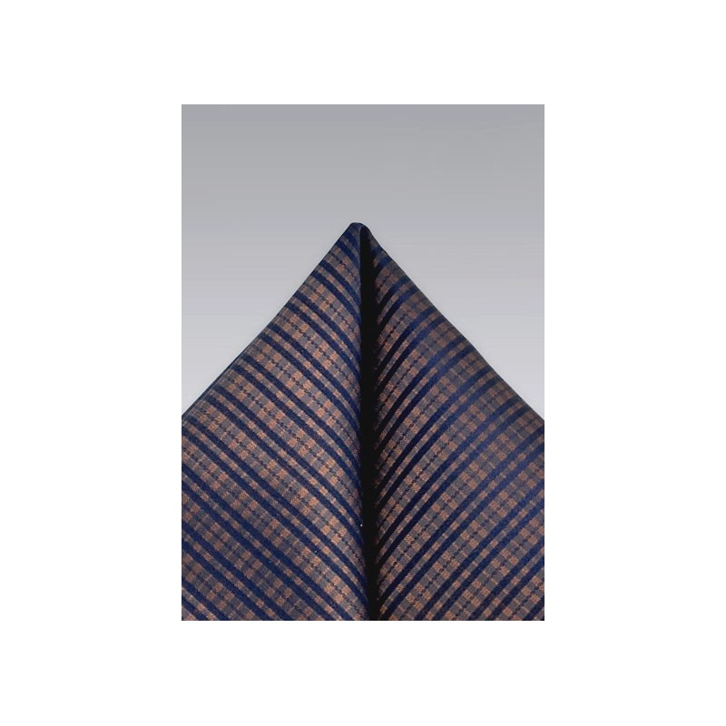 Plaid Pocket Square in Copper and Navy