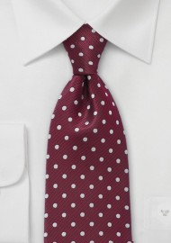 Burgundy and Silver Polka Dot Tie