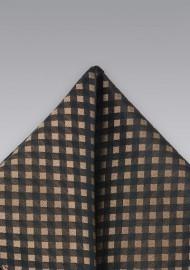 Brown & Black Gingham Check Pocket Square