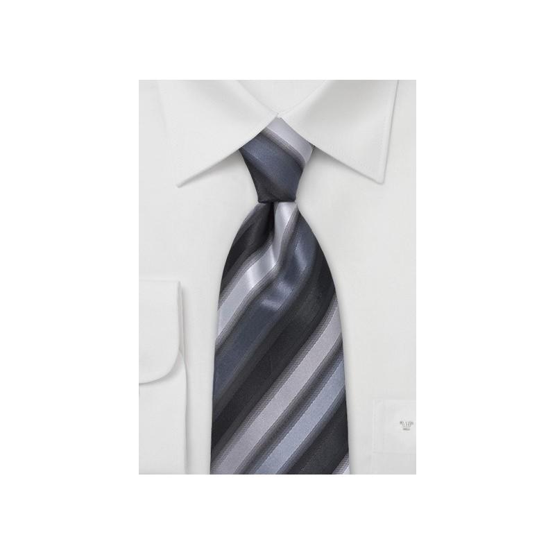Black and Silver Striped Tie