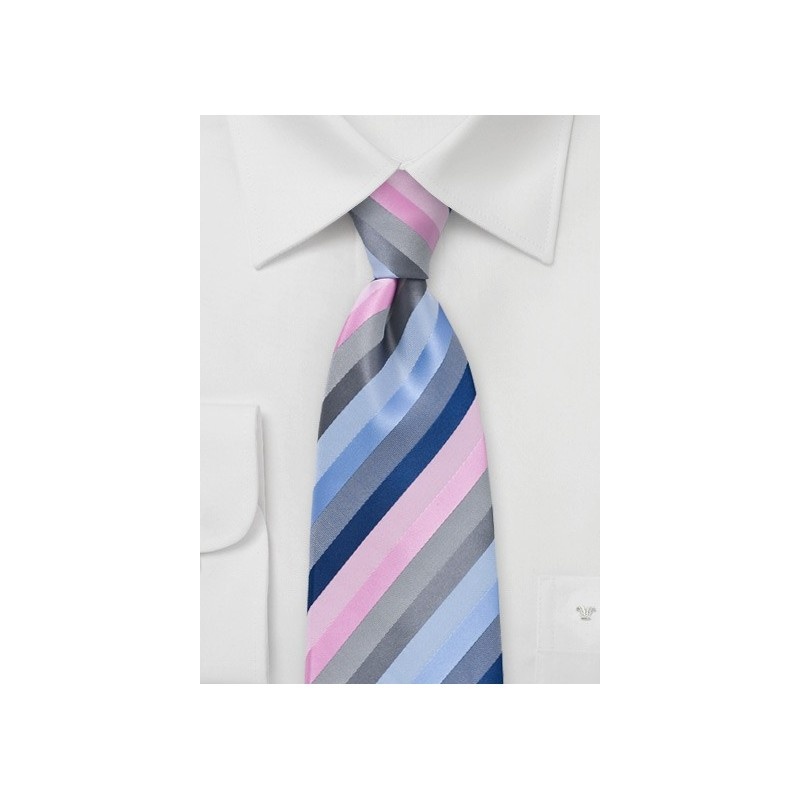 Striped Tie in Pastel Pinks and Blues