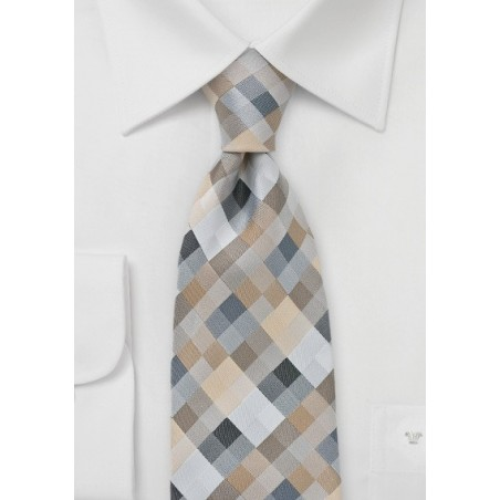 Diamond Tie in Silvers and Taupes