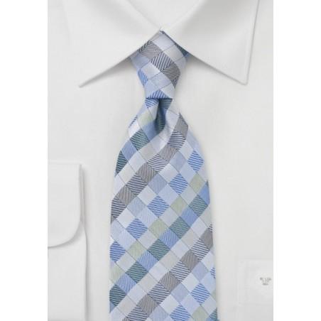 Light Blue and Silver Diamond Tie
