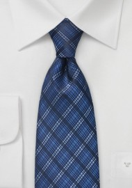 Dapper Plaid Tie in Blues