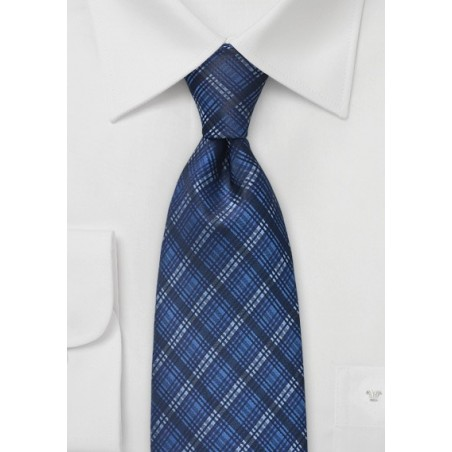 Dapper Plaid Tie in Blues