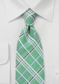 Plaid Tie in Mint Green