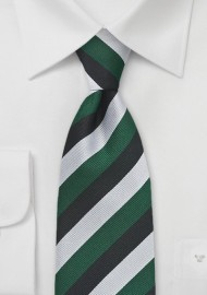 Diagonally Striped Tie in Green