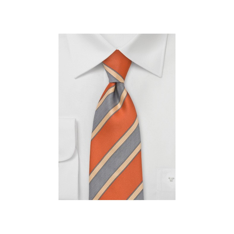 Modern Striped Tie in Orange