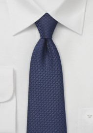 Embroidered Navy Blue Tie