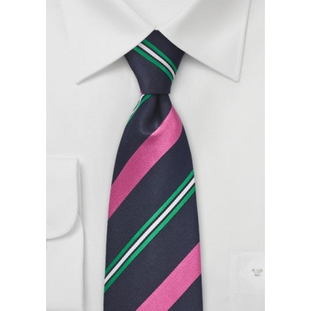Navy Blue with Neon Pink Stripes