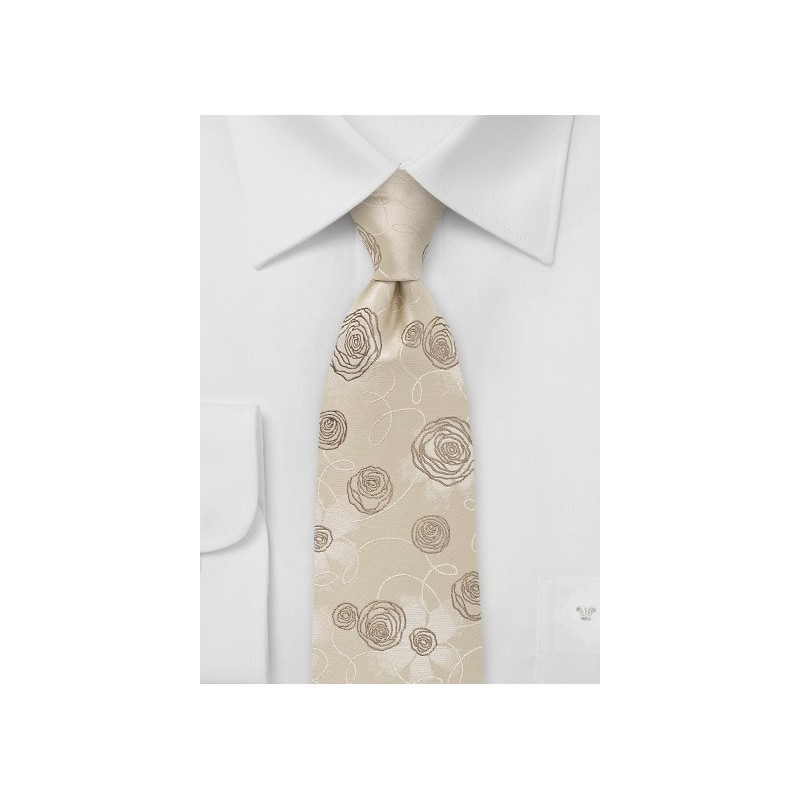 Floral Tie in Champagnes