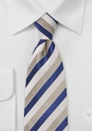 Textured Striped Tie in Blues and Wheats