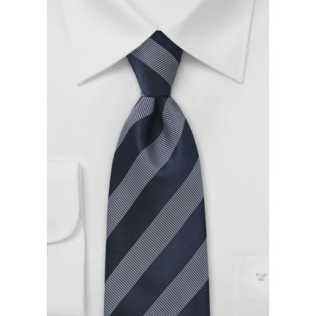 Sleek Striped Tie in Midnight Blue and White
