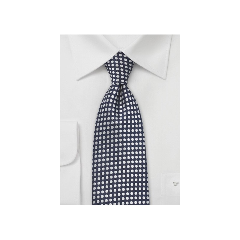 Hand Embroidered Polka Dot Tie in Navy
