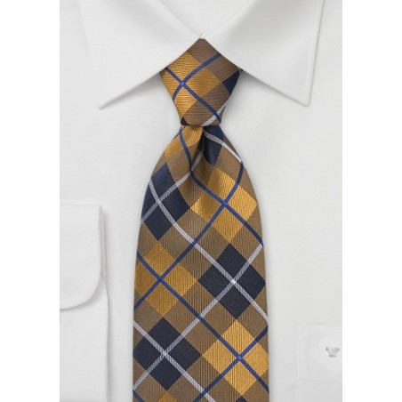 Classic Plaid Tie in Gold and Navy