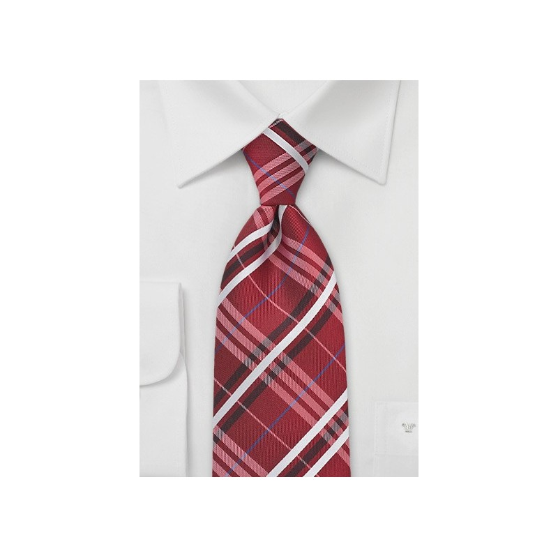 Modern Plaid in Red, Silver and Blue