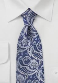 Tonal Blue Paisley Tie