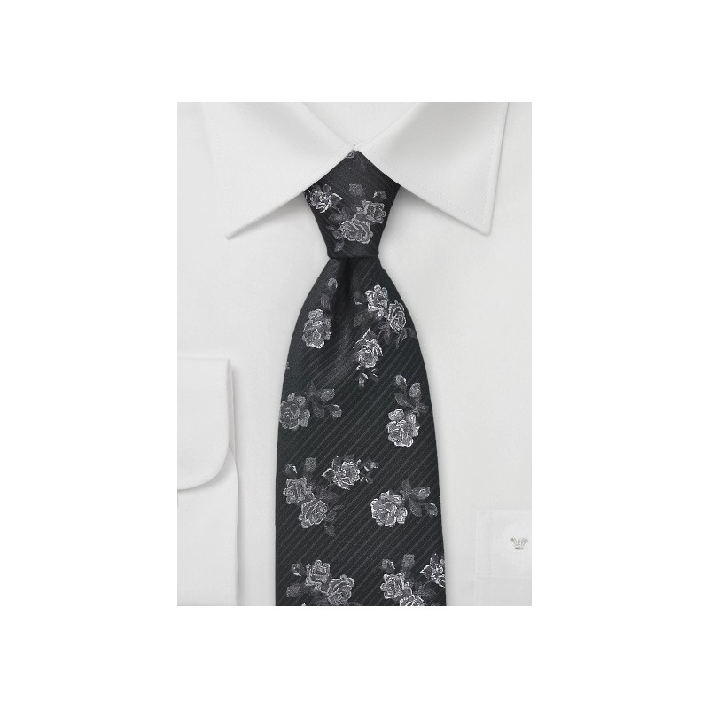 Retro Floral Tie in Black and Charcoal