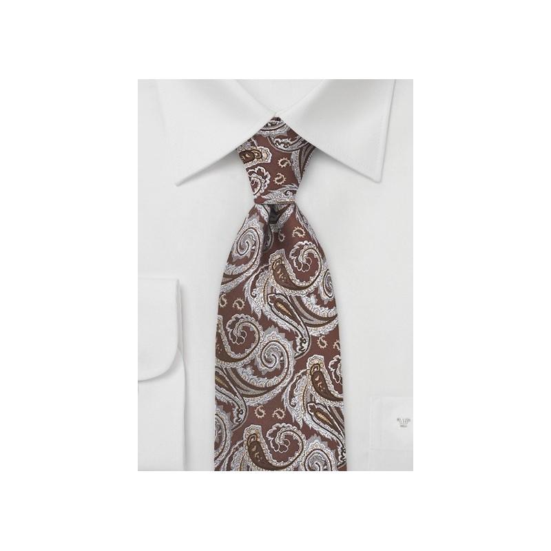 Chocolate Brown Paisley Silk Tie