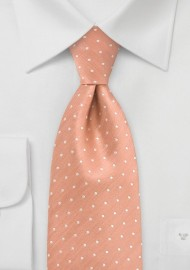 Peach Orange Polka Dot Silk Tie