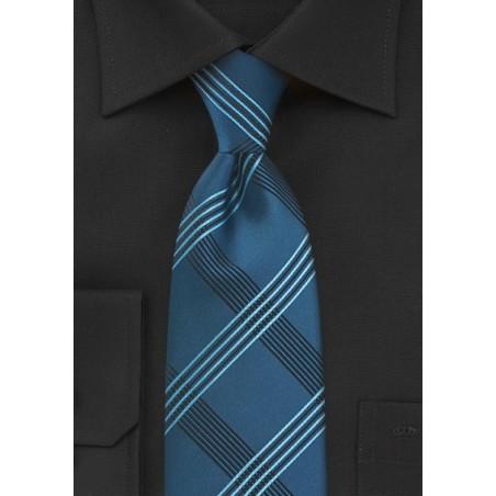 Plaid Tie in Brocade Blues