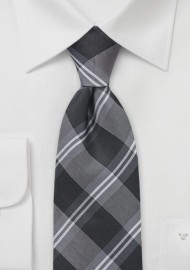Plaid Tie in Tonal Greys
