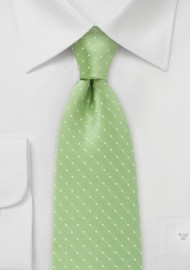 XL Length Light Green Polka Dot Tie