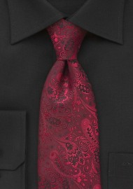 Regal Floral Motif Tie in Red and Black