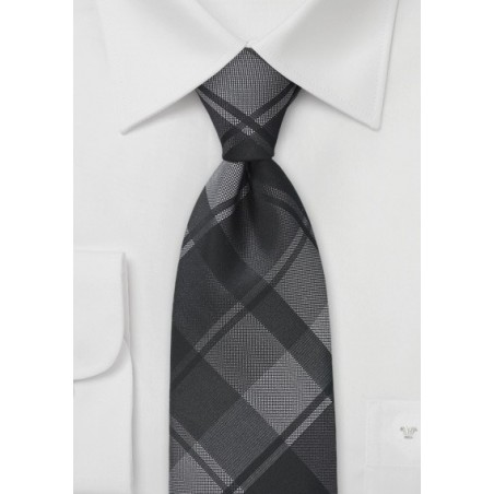 Oversized Plaid Tie in Charcoals